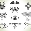 Tattoo flash design elements - Imagen vectorial