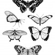Beautiful stylised butterfly outline silhouettes - Image vectorielle