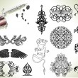 Tattoo flash design elements - Stock Vector