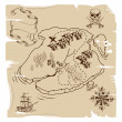 Ye Olde Pirate Treasure Map - Stock Vector