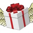 Gift flying with feathered wings — Imagen vectorial