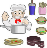 Chefs and food — Stock Vector