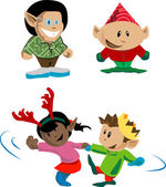 Christmas elves and pixies — Stock Vector