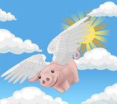 Flying pig illustration — Stock Vector