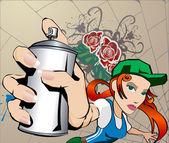 Graffiti Girl — Stock Vector