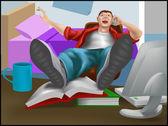 Lazy guy — Stock Vector