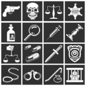Law, order, police and crime icons — Stock Vector