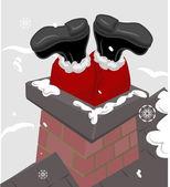Santa chimney illustration — Stock Vector