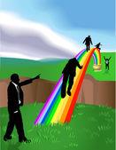 Rainbow business concept illustration — Stock Vector