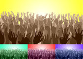 Crowd with their hands up — Stock Vector