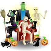 Halloween group illustration — Stock Vector