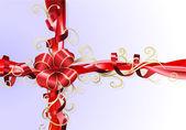 Fondo de cinta y arco de regalo — Vector de stock