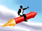 Rocket business man concept illustration — Stock Vector