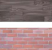 Baksteen en hout naadloos tegelbaar texturen — Stockvector