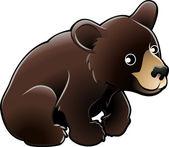 American Black Bear Cute Vector Illustration — Stock Vector
