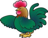 χαριτωμένο κόκορας αγρόκτημα ζώων διανυσματικά εικονογράφηση — Διανυσματικό Αρχείο