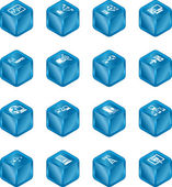 Red informática cubo iconos serie conjunto. — Vector de stock