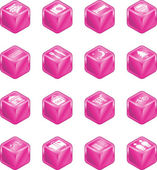 Tourist Locations Cube Icon Set — Stock Vector