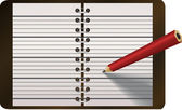 Pencil writing in diary vector illustration — ストックベクタ