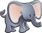 Lovable Elephant Cartoon Vector Illustration — Vecteur