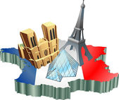 French tourism — Stock Vector