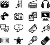 Icons relating to various types of media — Stock Vector