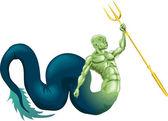 Merman or Poseidon — Stock Vector