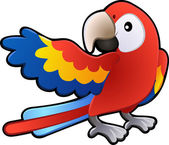 Cute Friendly Macaw Parrot Illustration — Stock Vector