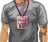 Illustration of man wearing VIP badge — Stock Vector