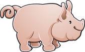 Cute Pig Farm Animal Vector Illustration — Stock Vector