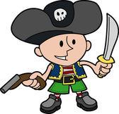海盗装的男孩的插图 — 图库矢量图片