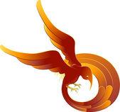 A swooping fiery bird — Stock Vector