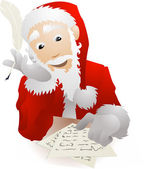 Santa Claus Checking His Christmas List or Replying to Childrens — Stock Vector