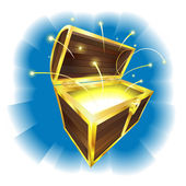 Illustration of treasure chest with sparks flying — Stock Vector