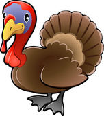Cute Turkey Farm Animal Vector Illustration — Vector de stock