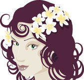 Flowers in her hair — Stock Vector