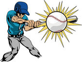 Illustration of baseball player hitting baseball — Cтоковый вектор