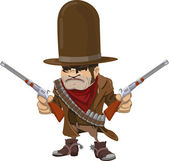Cowboy gunman with rifles — Stock Vector