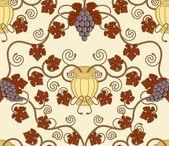 Beautiful vine leaf and urn seamless tile design — Stock Vector