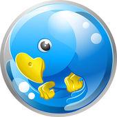 Blue bird twitter ing icon — Stock Vector