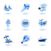 Shiny summer icons — Stock Vector