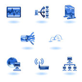 Glossy Computer Network Icon Set — Stock Vector