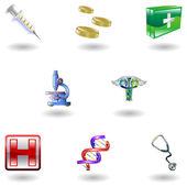 Glanzende medische pictogrammen — Stockvector