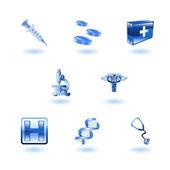 Błyszczący medical ikony — Wektor stockowy