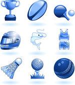 Shiny sports icon set series — Stock Vector