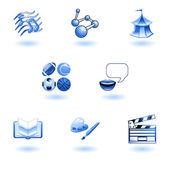 Blue glossy category education web icons — Stock Vector