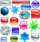 Shiny glossy web shields and backgrounds — Stock Vector