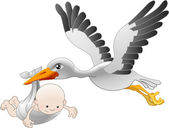 Stork delivering a newborn baby — Stock Vector