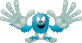 Cute friendly furry blue monster — Stock Vector