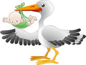 Stork with a newborn baby — Stock Vector